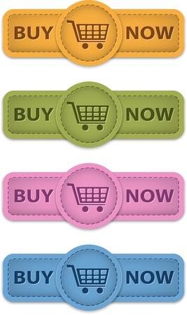 Koop nu web labels om te winkelen gemaakt van leer. Vector illustratie Vector Illustratie