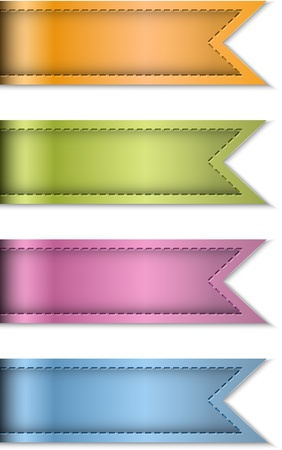 Tag labels made of leather. Ribbons isolated on white. Dsign templates. Vector