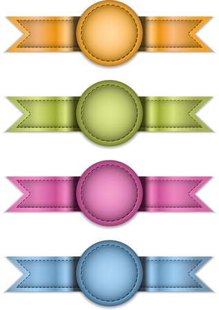 Colorful labels made of leather. Ribbons isolated on white. Design templates. illustration Vector