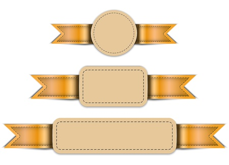 Banners made of leather. Tag labels. Design templates. Vector illustration