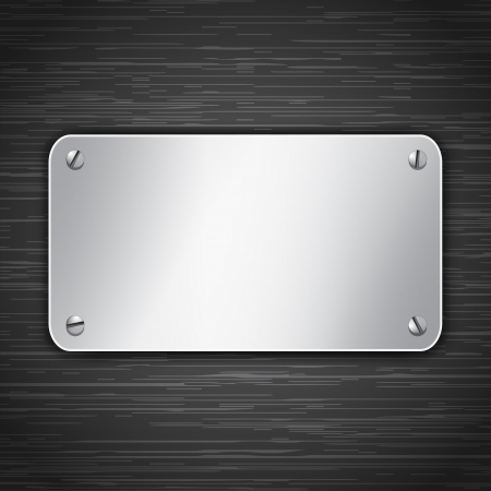 Metallic tablet attached with screws. Blank banner on dark background.  illustration Vector