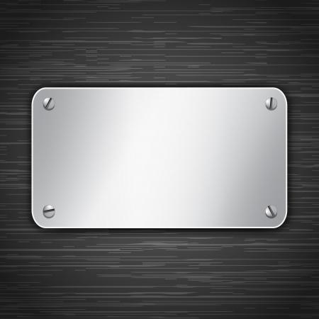 Metallic tablet attached with screws. Blank banner on dark background.  illustration