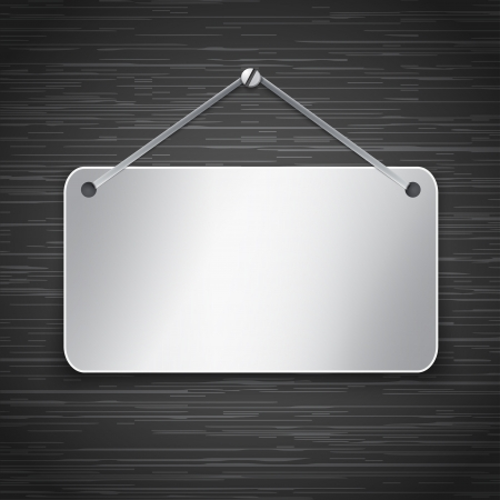 Blank metallic tablet hanging on dark brushed metallic wall.  illustration Vector