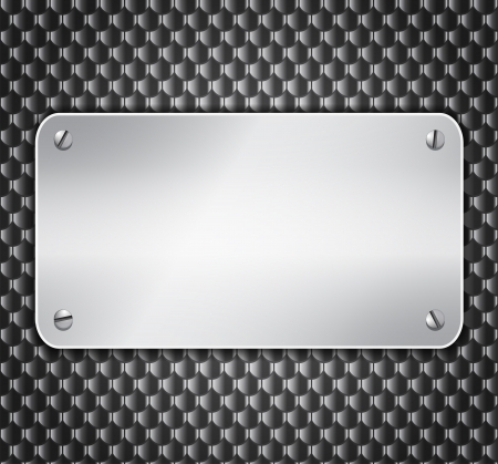 Blank metallic banner attached with screws on textured wall background. Vector illustration Ilustração