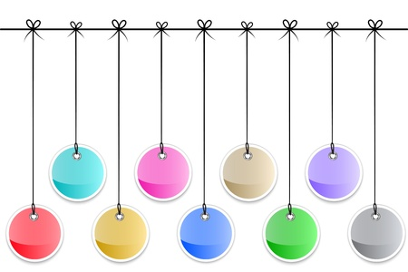 Glossy colorful tag labels tied with bows. Hanging stickers. illustration Vectores