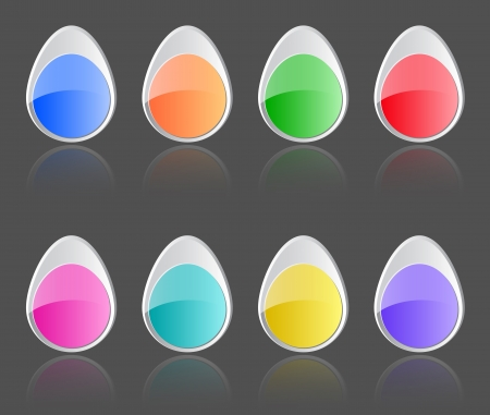 Easter glossy buttons. Colorful labels with reflections. Vector illustration  Vector