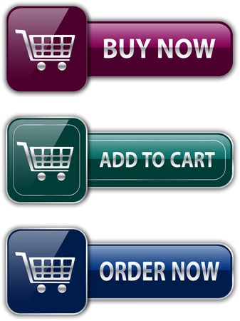 add to cart: Colorful glossy buttons for ecommerce. Shopping icons. Vector illustration