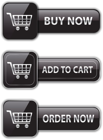 Black glossy buttons for online shopping. Commercial icons. Vector illustration