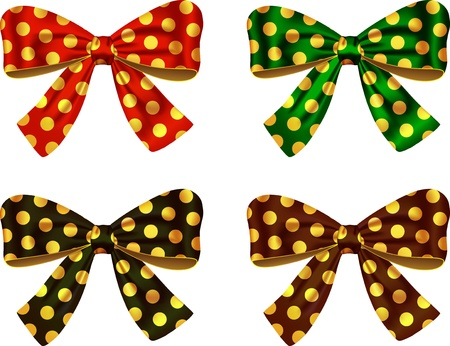 Textured bows for decorating cards and gifts. Ribbons. Vector illustration  Ilustração