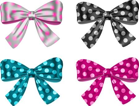 moño rosa: Arcos de regalo para las decoraciones festivas. Ilustración vectorial