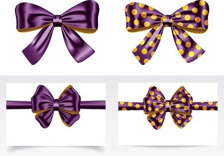 silk ribbon: Luxurious ribbons with bows. Gift cards. Vector illustration Illustration
