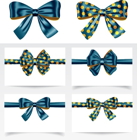 silk ribbon: Gift ribbon bows for festive decorations. Gift cards. Vector illustration