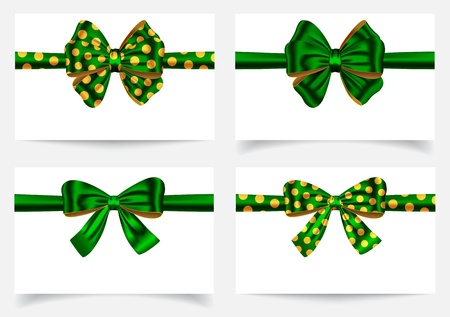 yellow ribbon: Green ribbon and bows. Gift card. Vector illustration