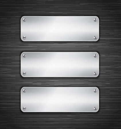 Metallic tablets attached with screws. Blank banners on brushed metallic wall. Vector illustration Vector