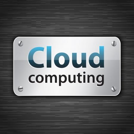 Cloud computing metallic tablet attached with screws. Vector illustration Vectores