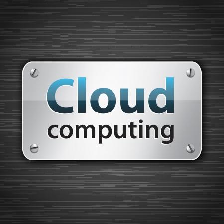 dark cloud: La computaci�n en nube met�lica tableta conectada con tornillos. Ilustraci�n vectorial Vectores
