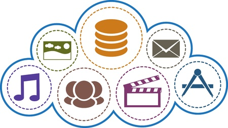 cloud hosting: Cloud computing concept. Multimedia, mail, apps, database, social colorful icons inside the cloud