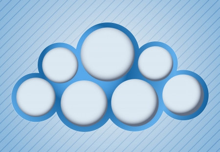 Blue cloud shape. Tags. Abstract background. Vector illustration.