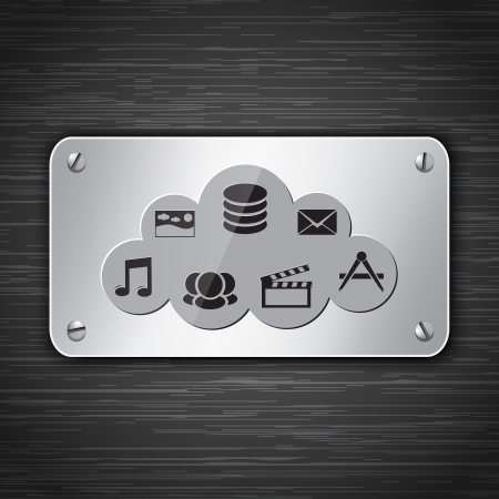 Cloud computing metallic tablet attached with screws. Vector illustration  Vector