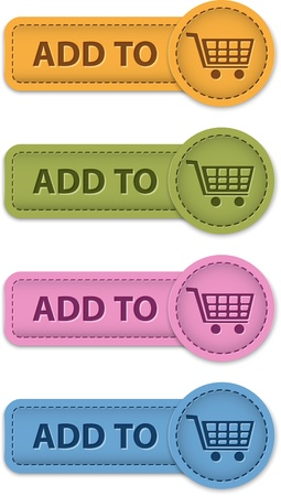 Shopping leather buttons. Add to cart icons. Vector illustration Stock Vector - 18937980