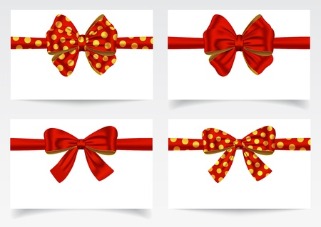 Red ribbons and bows. Gift cards. Vector illustration Stock Vector - 19117577