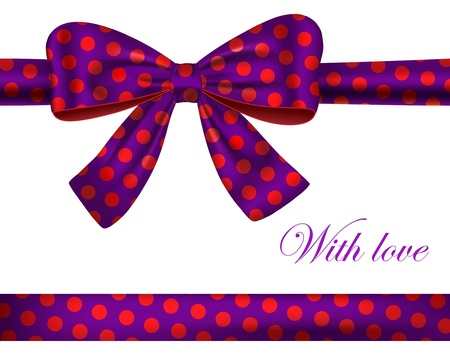 silk ribbon: Violet textured gift ribbon and bow with red dots. Vector illustration