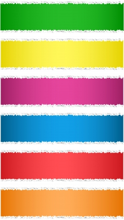 Torn paper tag labels. Colorful banners. Vector illustration Illustration