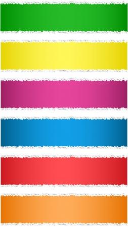 Torn paper tag labels. Colorful banners. Vector illustration Ilustração