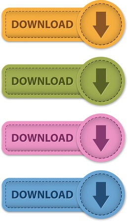 leather label: Download leather labels with arrow icon. Vector illustration