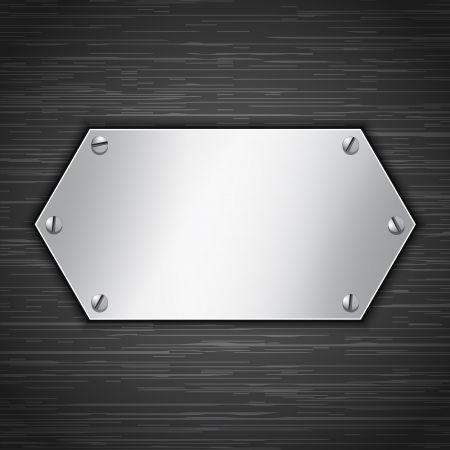 Metallic banner attached with screws. Blank tablet on dark brushed metallic background. Vector illustration Vector