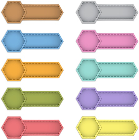 leather label: Blank colorful labels made of leather. Design templates. Vector illustration