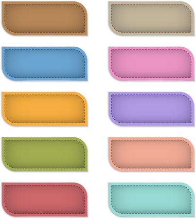 Blank colorful banners made of leather. Design templates. Vector illustration