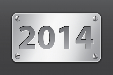 Metallic gray banner for 2014 year. Vector illustration Vector