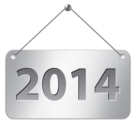 Metallic gray tablet for 2014 year. Vector illustration