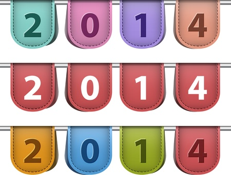 Labels for 2014 year made of leather. Vector illustration Vector