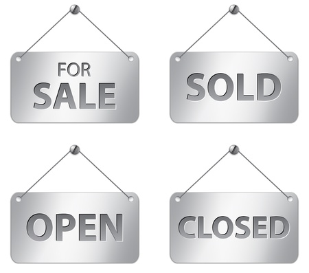 Metallic signs for sale, sold, open and closed. Vector illustration Vector