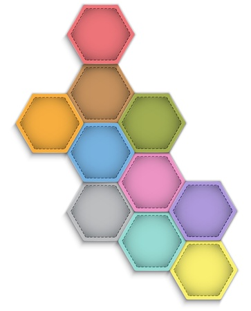 Abstract vector background with colorful leather hexagons on white Vector