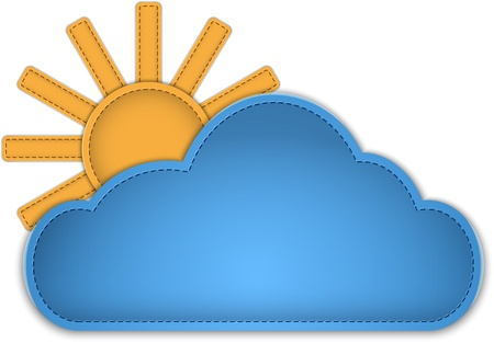 Cloud and sun made of leather.illustration