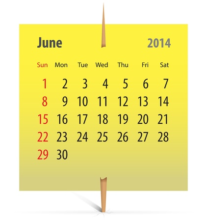 Calendar for June 2014 on a yellow sticker attached with toothpick. illustration Vector