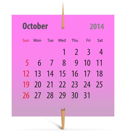 Calendar for October 2014 on a pink sticker attached with toothpick  Vector illustration Stock Vector - 19801913