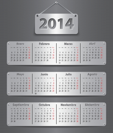 Spanish calendar for 2014 with attached metallic tablets. Vector illustration