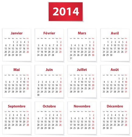 calendrier: Calendar for 2014 year in French on white paper. Vector illustration