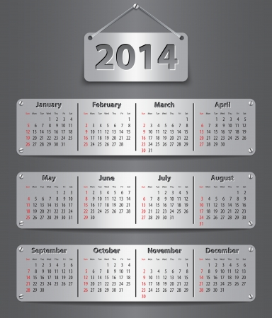 Calendar for 2014 year in English attached with metallic tablets. Vector illustration