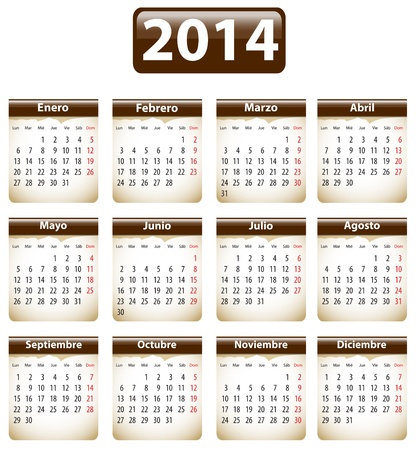 Brown calendar for 2014 year in Spanish with torn papers. Vector illustration