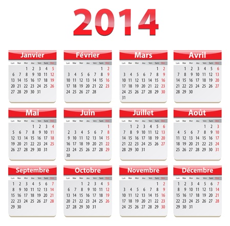 Calendar for 2014 year in French. Vector illustration Ilustrace