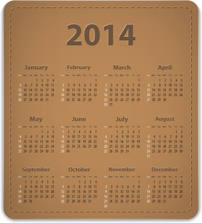 Calendar for 2014 year on brown leather background. Vector illustration