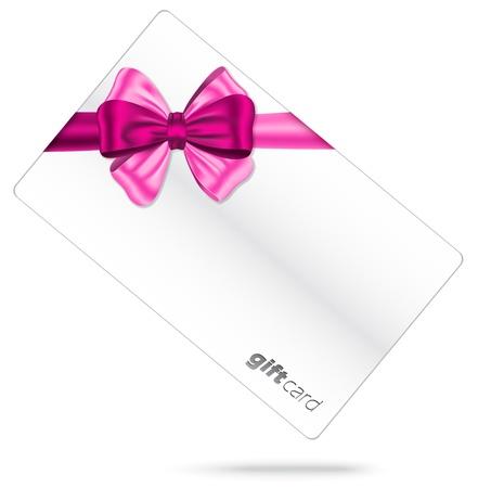 moño rosa: Cinta rosada con el arco magnífico de la tarjeta de regalo de color blanco Vectores