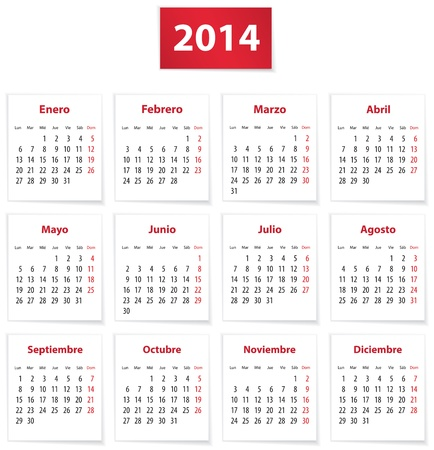 Calendar for 2014 year on white papers in Spanish. Vector illustration Ilustrace