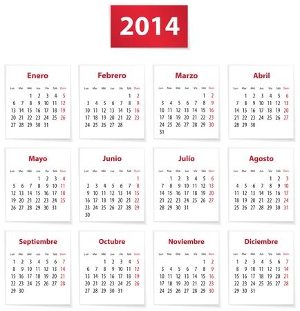Calendar for 2014 year on white papers in Spanish. Vector illustration Ilustração