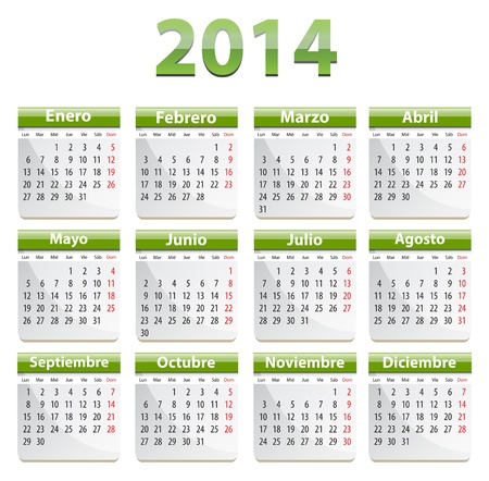 Green calendar for 2014 year in Spanish. Vector illustration